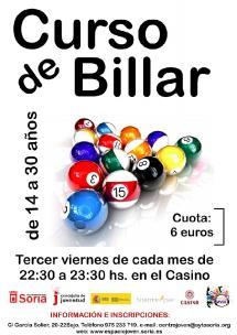 JUVENTUD: CURSO DE BILLAR  (SUSPENDIDO)