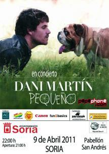 Dani Martín, cantante de El Canto del Loco, ofrece un concierto en el nuevo Pabellón del San Andrés en Soria el 9 de abril.