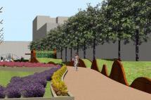 Uno de los paseos y zona verde el proyecto.