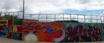 Imagen de la pintura mural de las pistas de Los Pajaritos.